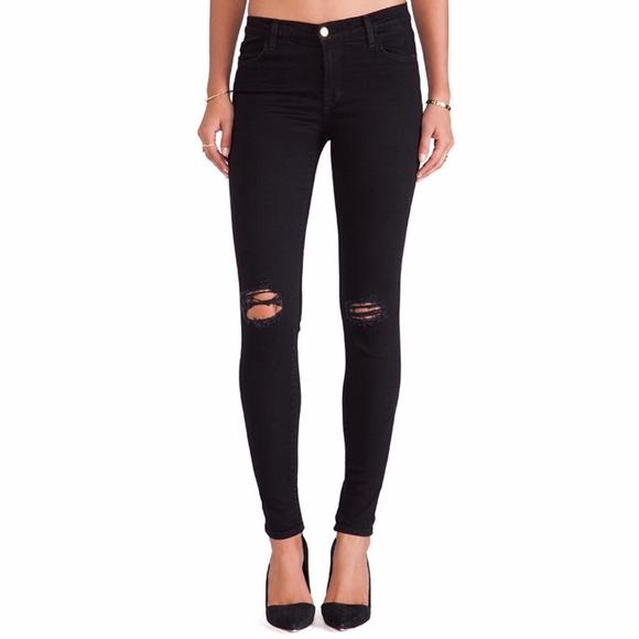 J Brand Denim - J Brand Super Skinny Blackout Ripped Jeans